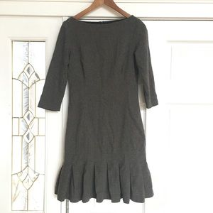 Zara wool long dress brown gray fitted sz Medium